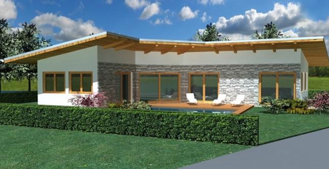 Excellent villa plus con tetto in legno e giardino in materiale naturale with progetti giardino - Progetti giardino per villette ...