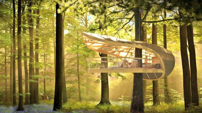 Samara la casa prefabbricata sull 39 albero che sembra un frutto - Casa sull albero progetto ...