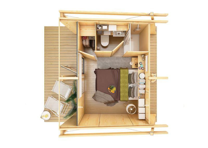 a differenza dei precedenti questo modello di casetta prefabbricata dotato anche di un bagno con angolo doccia oltre che della camera da letto e di un